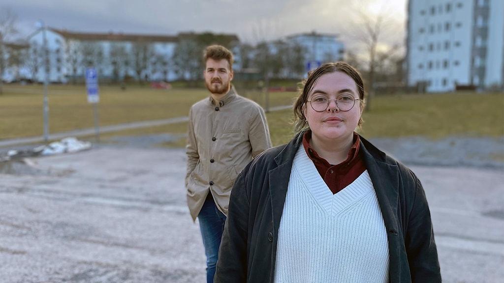 Studenter i Uppsala utanför studentboende