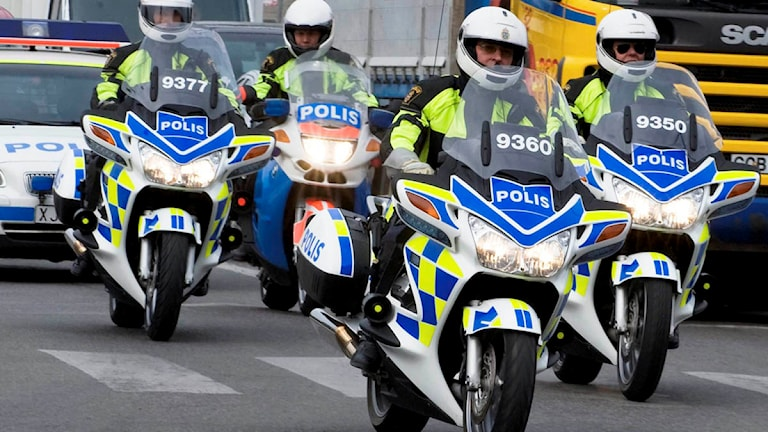 Motorcykelpoliser. Foto: Bertil Ericson/Scanpix