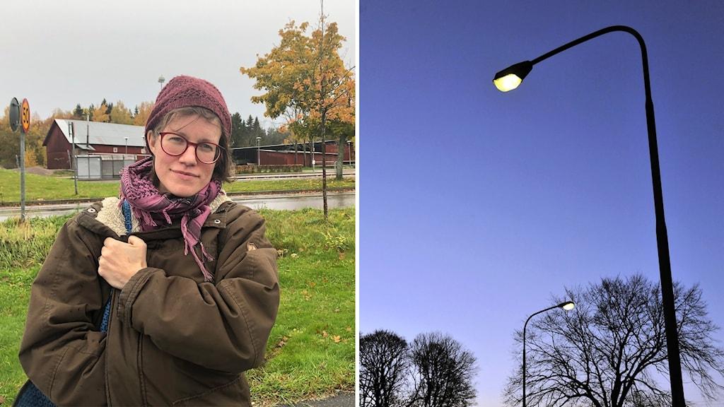 Bild på Åsa Norling och gatubelysning.