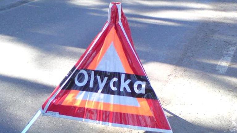 Varningsskylt olycka. Foto: August Bergkvist / SR