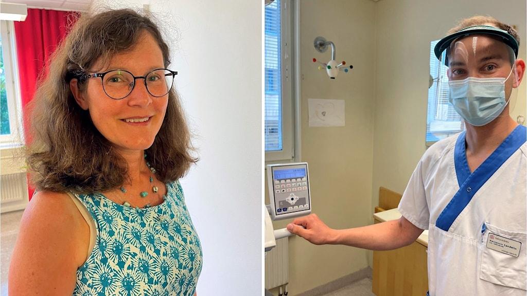 Regionens cheftandläkare Anna-Cari Lindh och tandläkaren Benjamin Sandelin