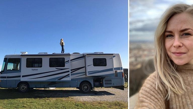 Kvinna står på taket av en husbil. Till höger en porträttbild på samma kvinna.