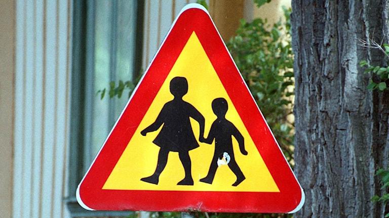Varningskylt - varning för skolbarn (arkivbild). Foto: Anna Littorin / Scanpix