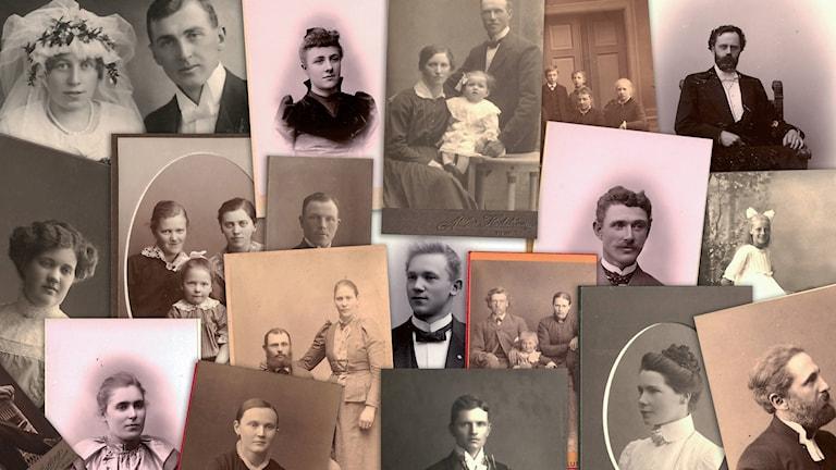 collage av gamla foton