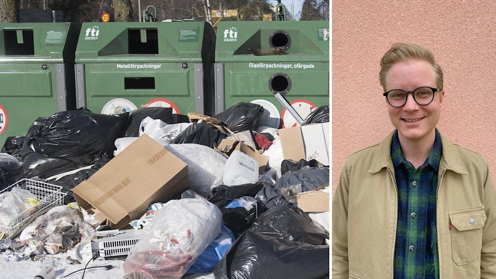 Till vänster massor av sopor som ligger utanför några avfallscontainer, till höger Per Fors.