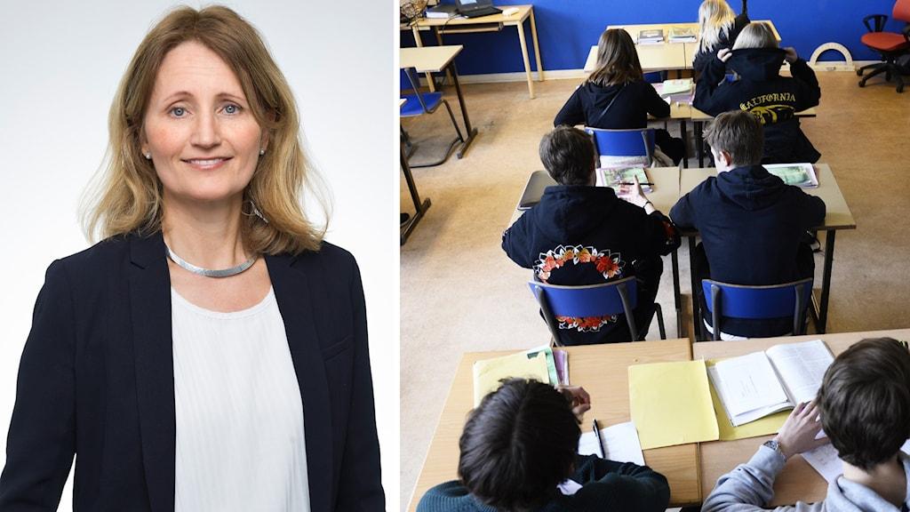 Kvinna i kavaj och ett klassrum.