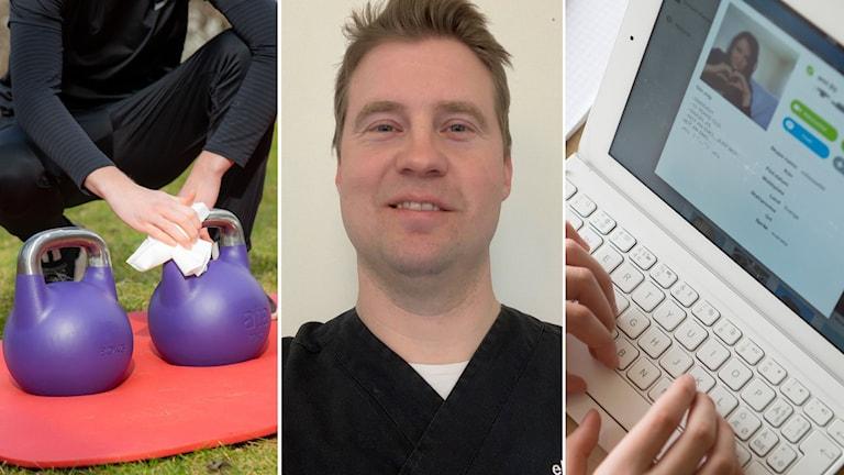 Del ett visar kettlebells utomhus. Del två visar Mattias Myrälf. Den tredje bilden visar ett Skypesamtal på en surfplatta.