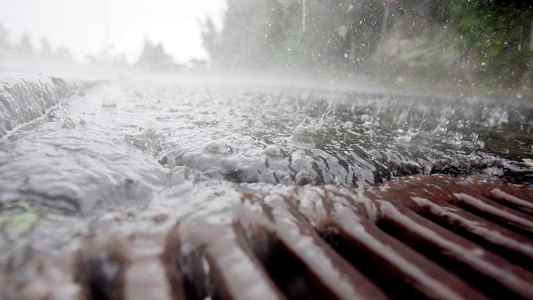 Regnvatten på väg ner i gatubrunn. Foto: Stian Lysberg / Solum / Scanpix