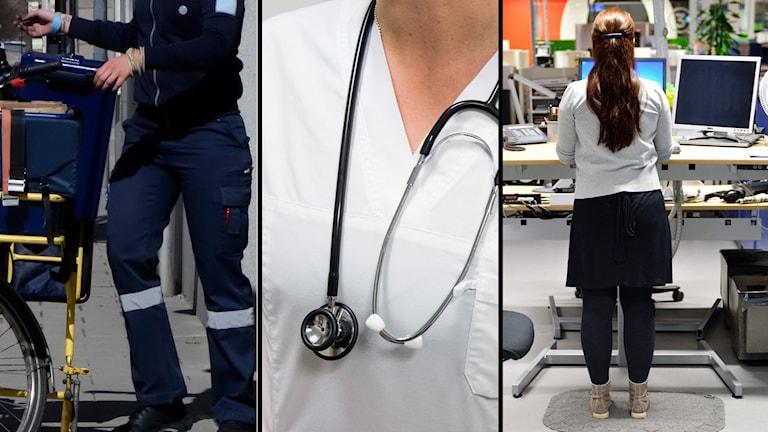 Tre olika bilder. En på en postarbetare, en på en vårdarbetare, och en på en kontorsarbetare.