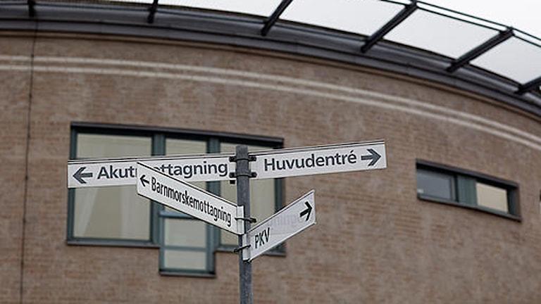 En skylt utanför Norrtälje sjukhus Foto: Sören Andersson/Scanpix
