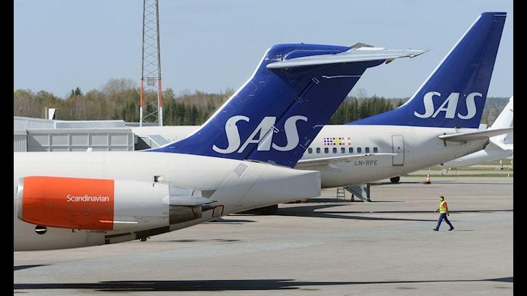 Flygplan tillhörande SAS på Arlanda flygplats. Foto: Johan Nilsson / SCANPIX