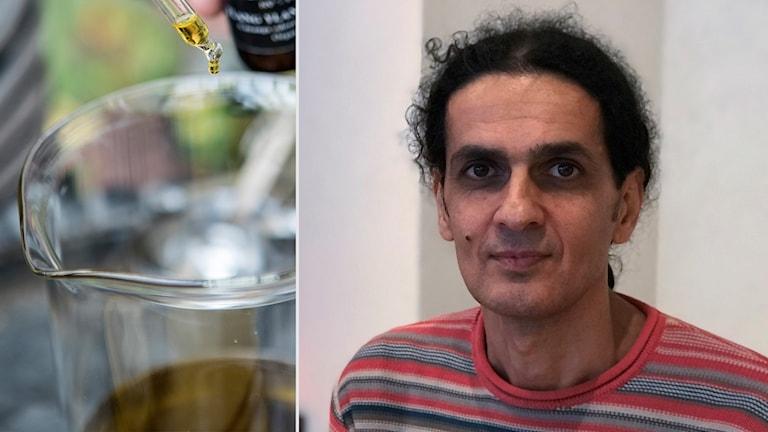 Yogev Avraham arbetar i butiken och yogastudion Shendao i Uppsala där de nyligen har börjat sälja en THC-fri hampaolja.