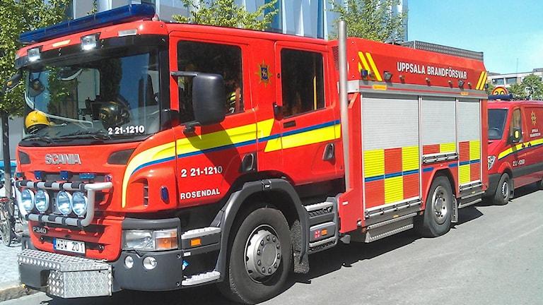 Brandbilar (Uppsala Brandförsvar). Foto: August Bergkvist / SR