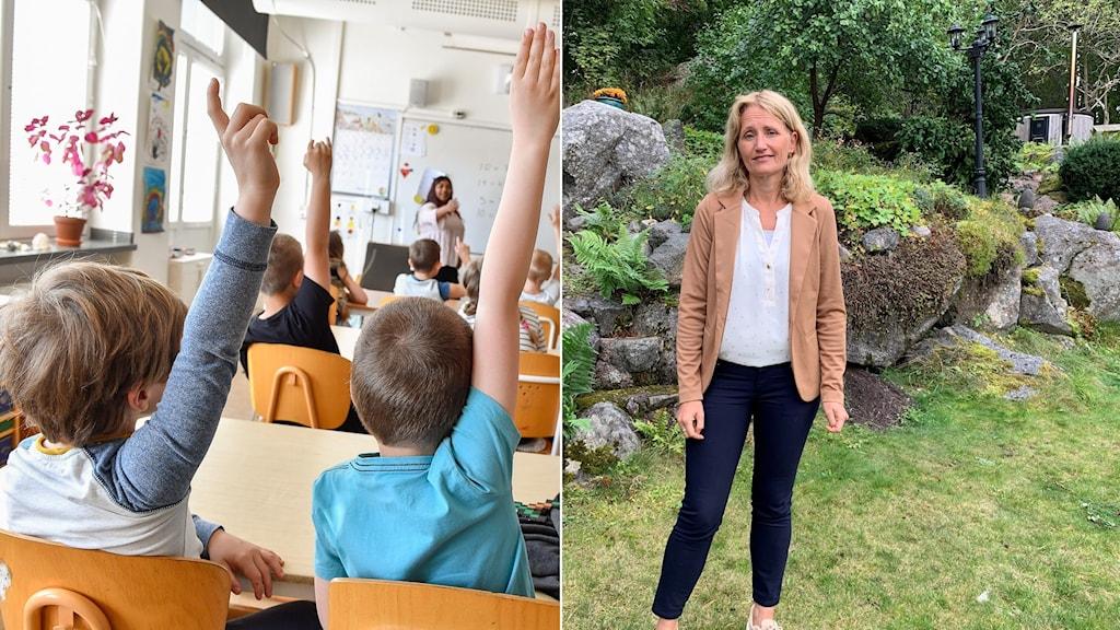 Till vänster: skolelever som sitter i klassrum. Till höger: Christina Stenhammar står utomhus och tittar in i kameran.