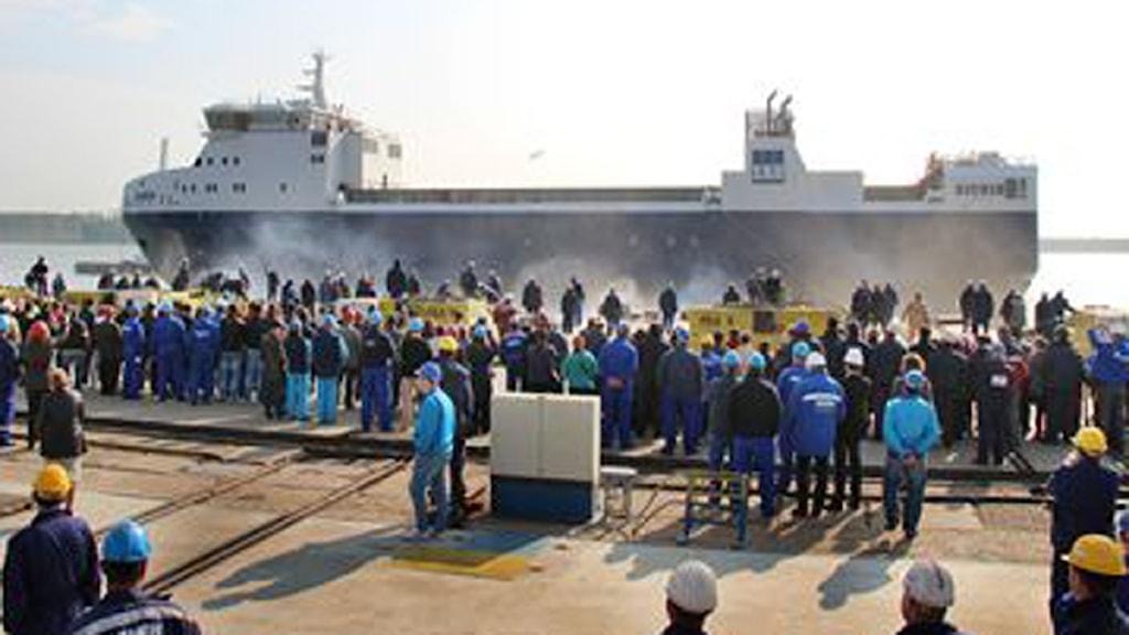 m/s Sigrid sjösattes i torsdags på varvet i rumänska Galati. Foto: SKB