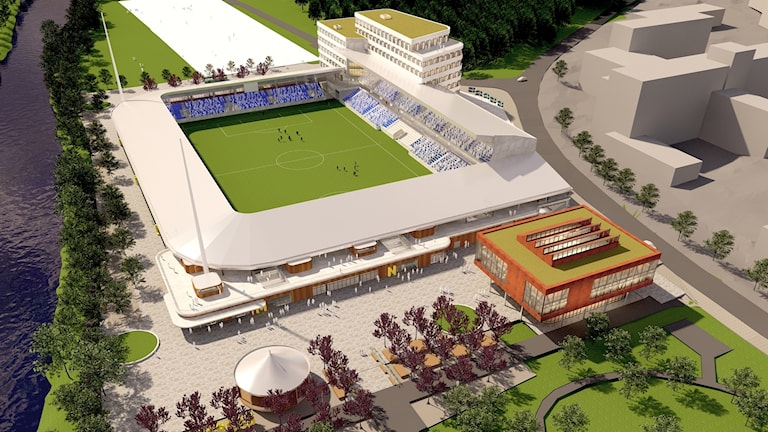 Nya fotbollsarenan i Uppsala. Studenternas