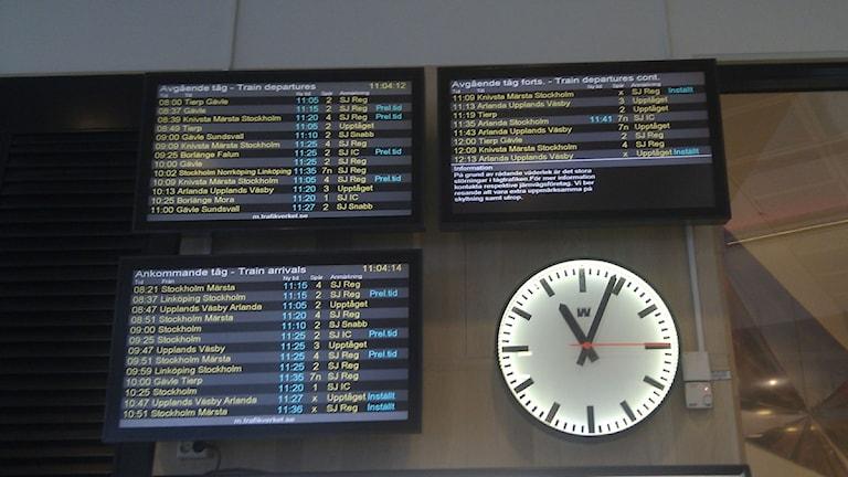 Tågförseningar. Foto: Lars Broström/SR