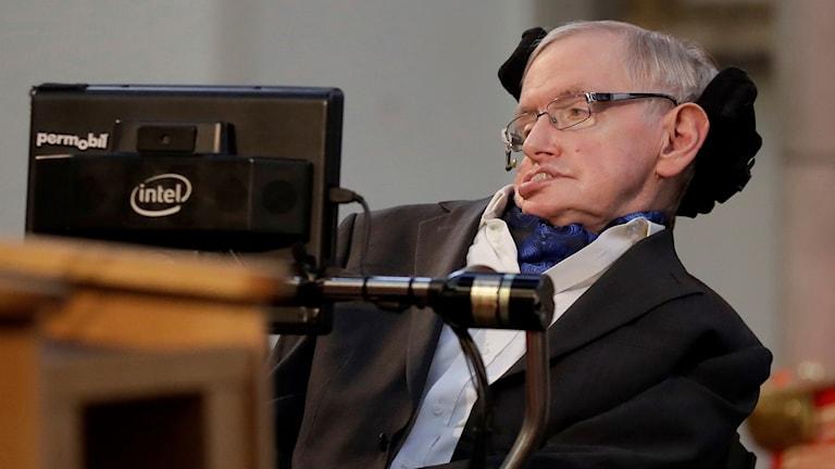 Stephen Hawking vid ett tal i London.