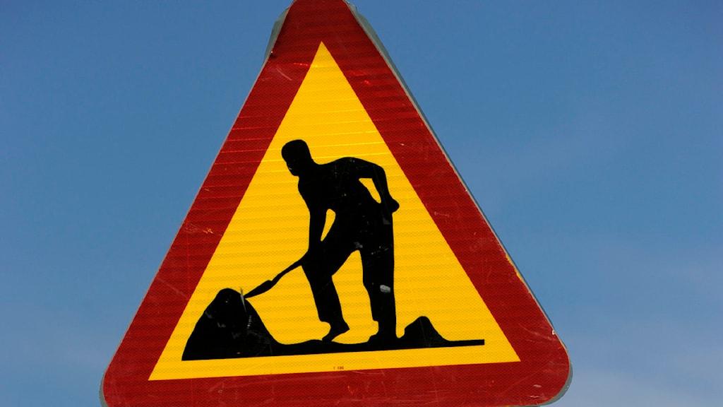 Varningsskylt vägarbete. Foto: Janerik Henriksson / Scanpix