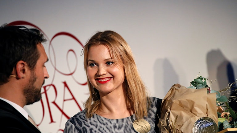 Emma Frans tilldelas priset Årets Röst när Stora Journalistpriset 2017 delas på Bonniers Konsthall i Stockholm på torsdagskvällen.