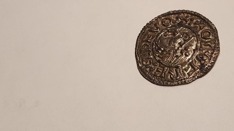 Ett av Sveriges första mynt. Foto: Mattias Persson/Sveriges Radio