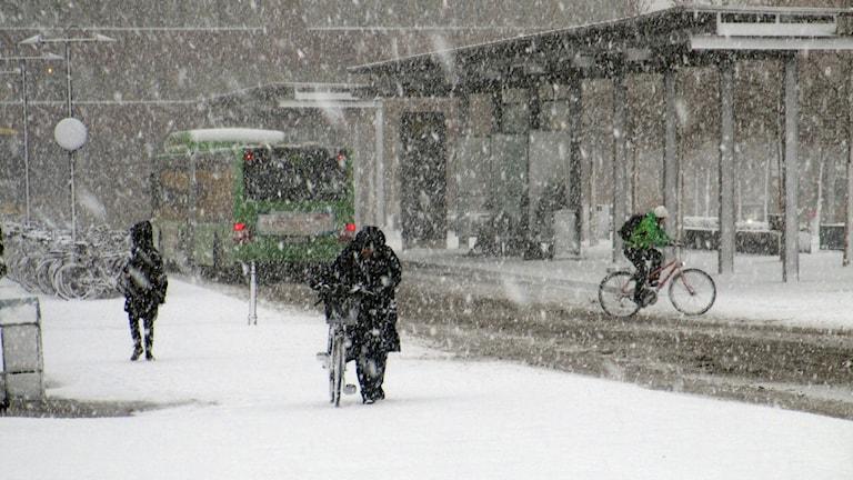 Snön faller över Uppsala Resecentrum. Foto: Martin Hult/Sveriges Radio