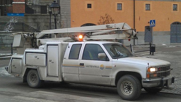 En av Vattenfalls servicebilar. Foto: August Bergkvist/Sveriges Radio