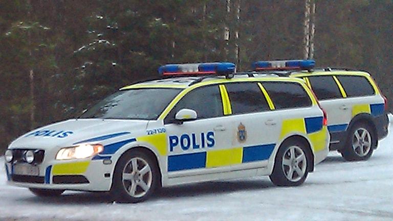 Polisbilar vid vägkant (arkivbild). Foto: August Bergkvist/Sveriges Radio