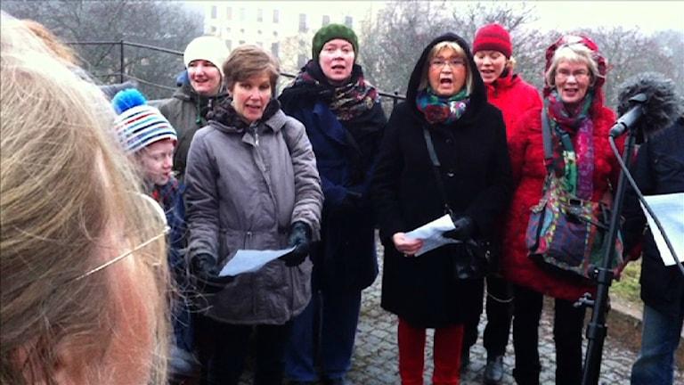 Lyssnarkören sjunger in våren 2014. Foto: Henrik Skarstedt SR