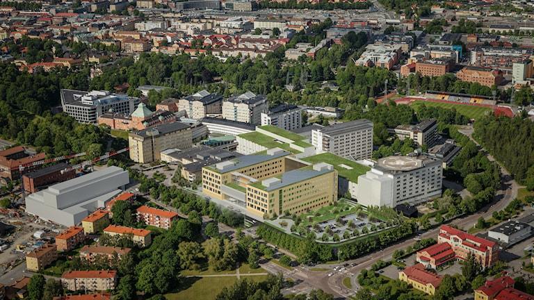 Det nya akademiska sjukhuset med samtliga byggnader. Foto: White arkitekter