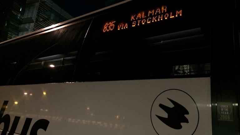 Swebus buss på väg till Karolinska i Stockholm. Foto: Ulla de Verdier/SR.