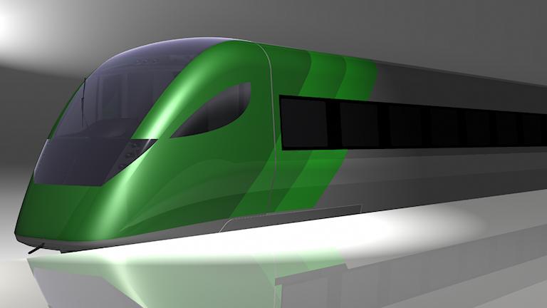 Modell av Gröna tåget. Grafik: Bombardier/Trafikverket