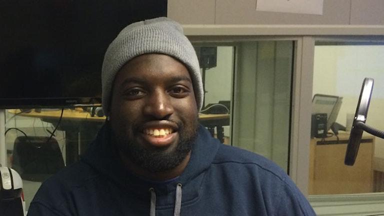 Uppsala baskets nyförvärv Brice Massamba. Foto: Bosse Pettersson/Sveriges Radio