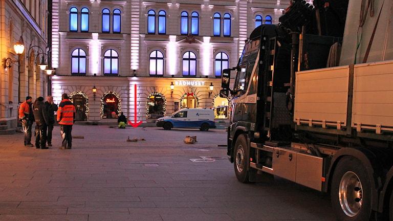 Stora torget i Uppsala. Här ska Musikhjälpens bur stå. Foto: Erik Thyselius/Sveriges Radio
