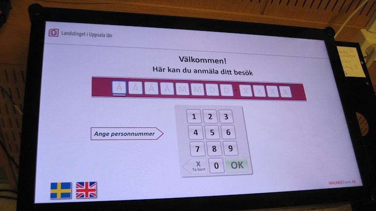 Så här ser den nya självregistreringen på Akademiska sjukhuset ut. Foto: Mårten Nilsson/SR