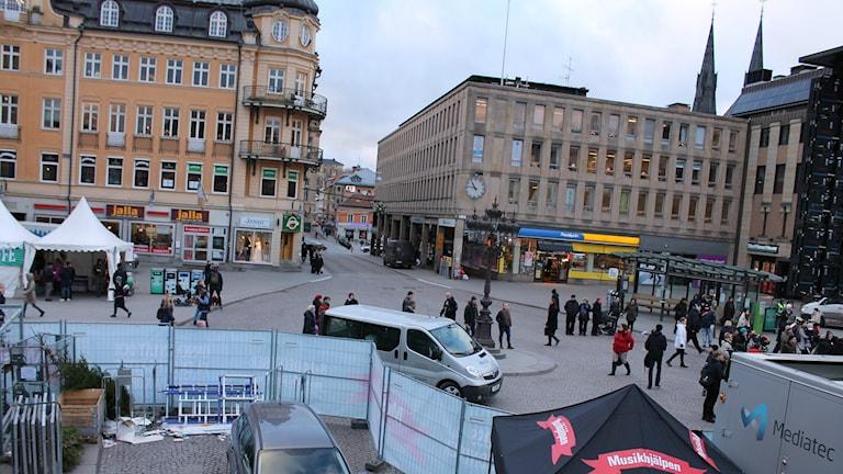 Stora torget utan bussar. Foto: Stefan Hesserud Persson / SR