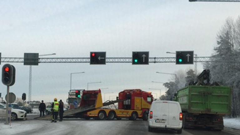 Olyckan på 55:an ledde till långa köer. Foto: Cecilia Ingvarsson/Sveriges Radio