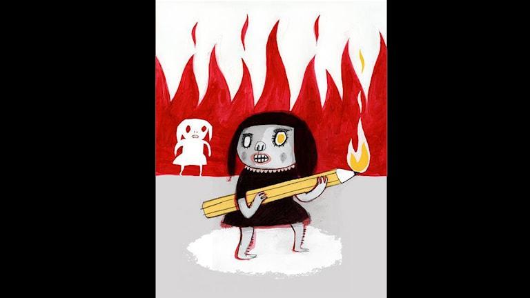 Nina Hemmingssons illustration för yttrandefrihet.