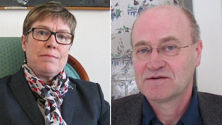 Maj-Britt Johansson och Peter Högberg, kandidater till att bli rektor för SLU i Uppsala. Foto och montage: Sveriges Radio