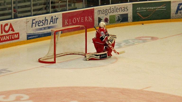 Almtunas målvakt Alexander Sahlin. Foto: Per-Henrik Johansson/Sveriges Radio