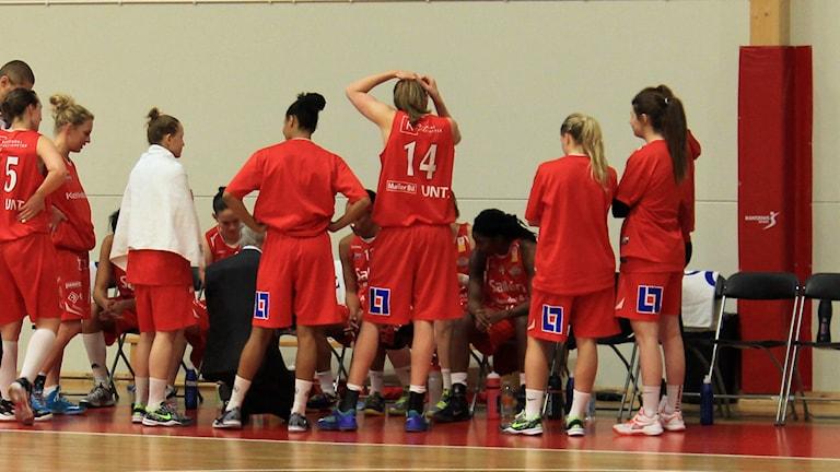 Sallén basket i röda linnen. Foto: Karima Edell/Sveriges Radio