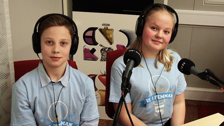 Vinnarna Viggo & Linn från Romberga skola Foto:Thomas Artäng/Sveriges Radio