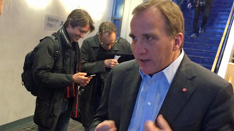Stefan Löfven i Uppsala i dag. Foto: Stefan Hesserud Perssson/Sveriges Radio.