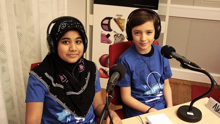 Fatima & Alexander från Hågadalsskolan Foto:Thomas Artäng/Sveriges Radio