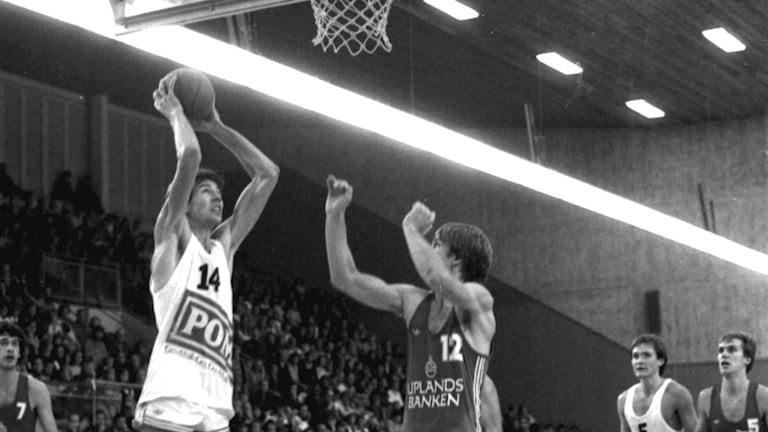 Alvik mot Uppsala i klassisk SM-final 1979. Foto: Uppsala basket