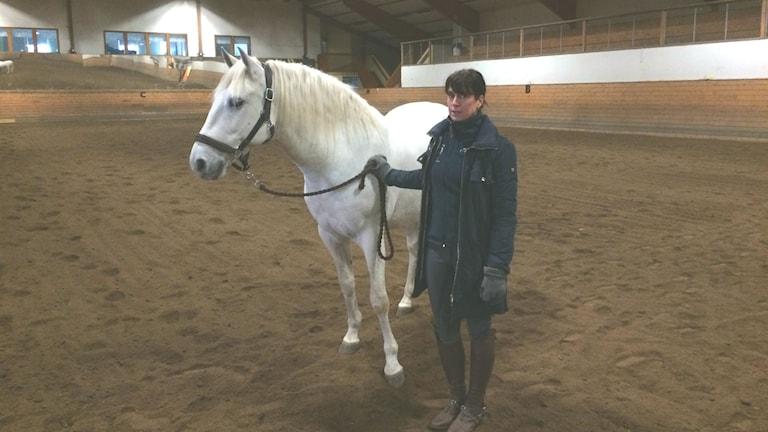 P4 Morgon träffade landslagsryttarinnan Ulrika Pernler med hennes häst Unico. De kommer att tävla i den nya ridsportgrenen Working equitation. De står tillsammans i ridhuset. Unico är en vit häst.