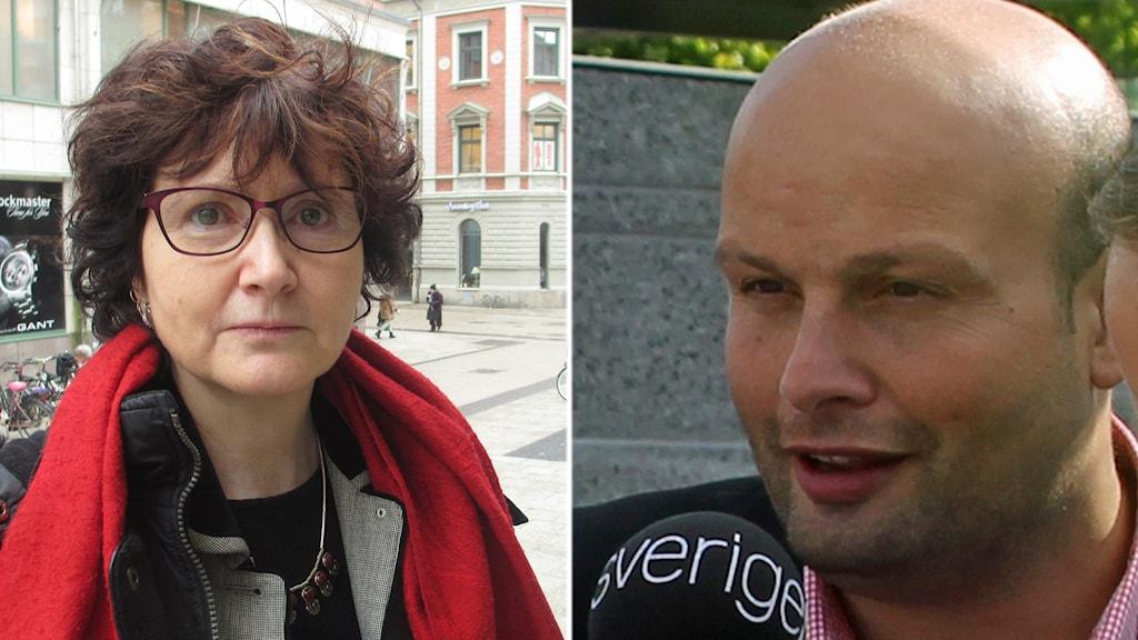 Ilona Szatmari Waldau (V) och Mohamad Hassan (FP). Foto och montage: Sveriges Radio