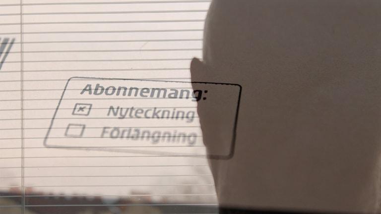 """""""Lasse"""" och ett av hans abonnemang. Foto och montage: Sveriges Radio"""