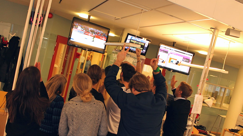 P4 Upplands redaktion följer skid-VM. Foto: Stefan Hesserud Persson/Sveriges Radio