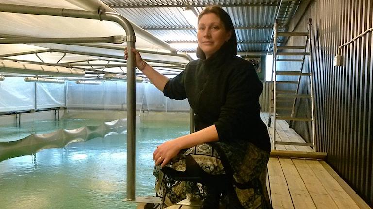 Matilda Olstorpe, vd för Vegafish, vid bassänger för räkodling i Uppsala. Foto: Sara Sällström/Sveriges Radio